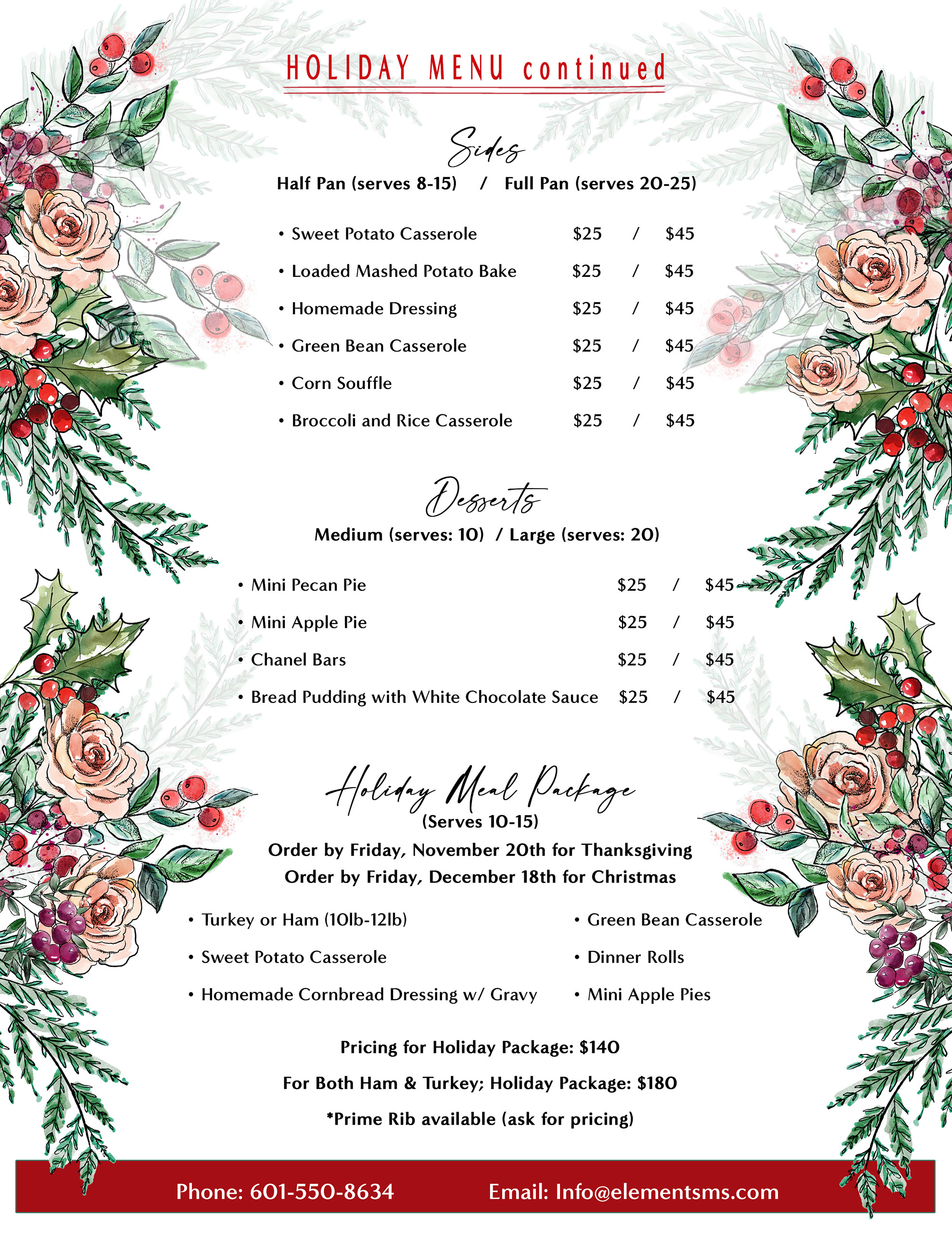 Holiday Menu for Elements Catering & Floral Design Columbia Mississippi